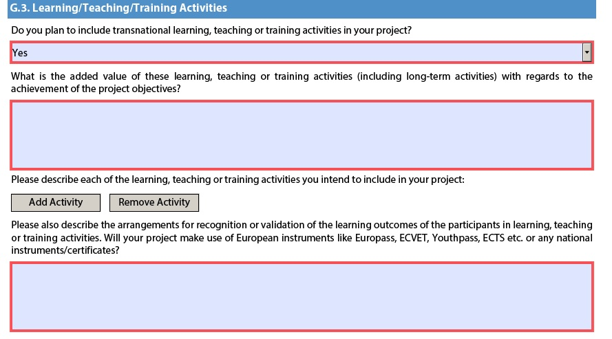 Important notes for learningteachingtraining activities erasmus after choosing yes the form will open new parts to fill like this yadclub Image collections